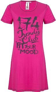 Rebelle Hot Pink Club Print Cotton Short Sleeve Nightdress 1161-231-3 (215)