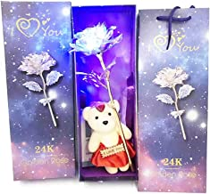 Auelife Artificial Rose Gifts 24K Galaxy Rose Flower with Love Shape Base for Valentines Day Thanksgiving Mothers Day Girls Birthday Anniversary Wedding Present