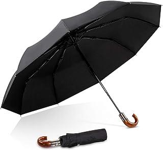 DORRISO Luxury Men Folding Umbrella Automatic Open Close Imitation Wood J-handle Compact Business Windproof Travel Umbrella