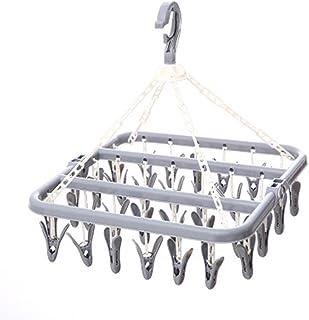 Etendoir Chaussette,Plastique Étendoir à Linge avec 30 Crochets Coupe-Vent,Cintre Pliant Style Moderne, pour Chaussettes, ...