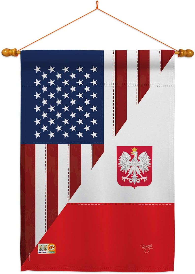 US Friendship Polish House Flag SALENEW大人気 American 卓出 Regional Dowel USA Set