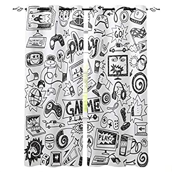 Edwiinsa Video Games Kitchen Blackout Curtains Window Drapes Treatment 2 Panels Set for Kitchen Cafe Office Monochrome Sketch Gaming Racing Monitor Device Gadget Teen 90 s 80W x 63L inch