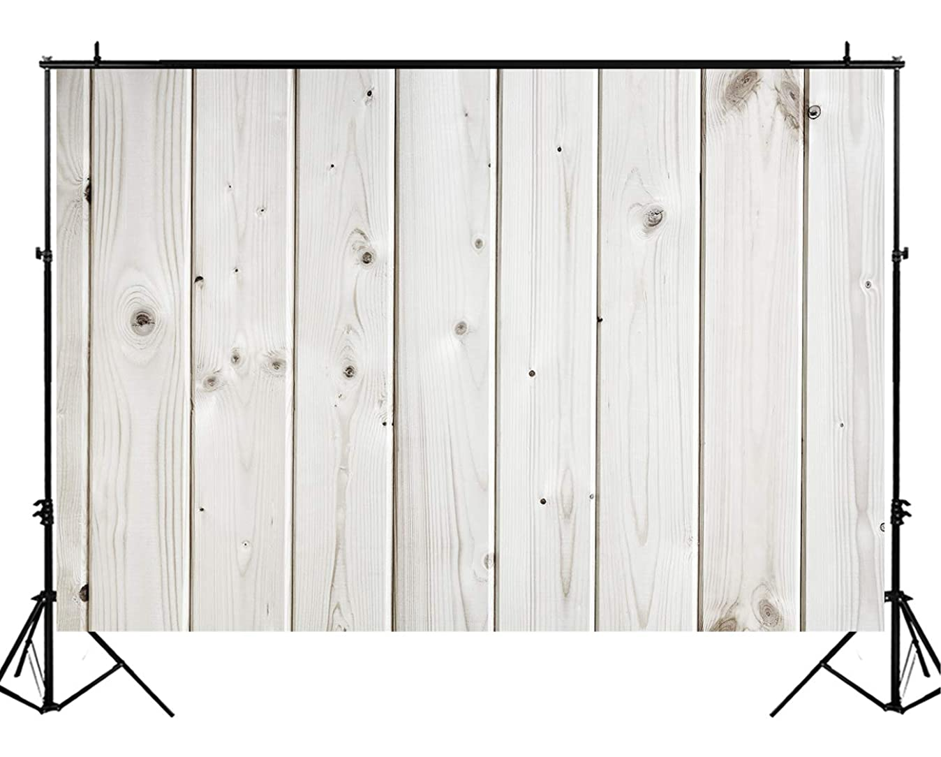Funnytree 5X3ft Vinyl White Wood Backdrop Wooden Board Photography Bokeh Rustic Faux Panel Flat Background Portrait Retro Texture Photo Booth Studio Props Poster Photoshoot Photografia v0935025756