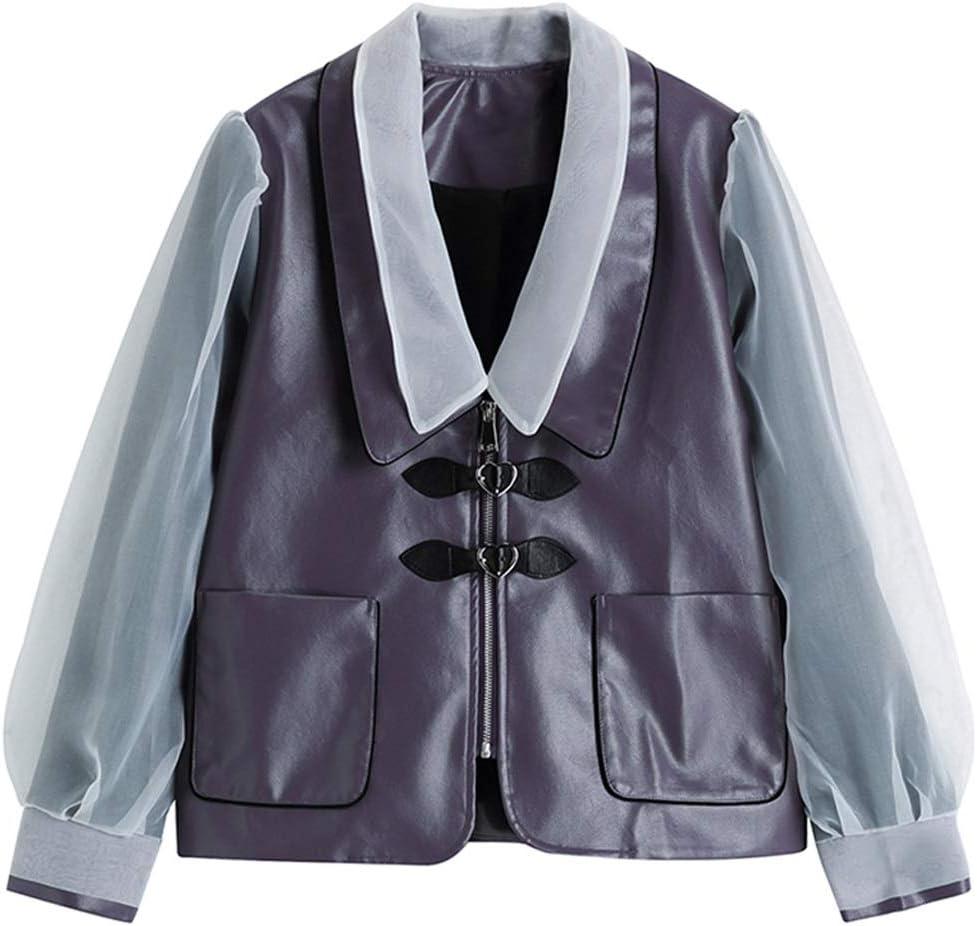STRAW Loose Mesh Purple Pu Leather Big Size Jacket New Lapel Long Puff Sleeve Women Coat Fashion Tide Autumn Winter (Size : S Code)