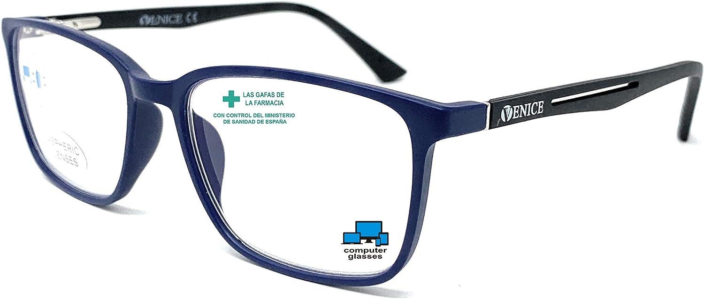 VENICE EYEWEAR OCCHIALI | New Model Gafas de lectura con filtro bloqueo luz azul para gaming, ordenador, móvil. Anti fatiga STEEL professional unisex venice (Azul Negro, 1,00)