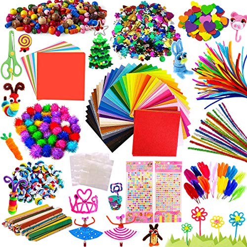 AYUQI Kit Manualidades niños, Pipe Cleaners Crafts Set, Juego de Manualidades, Limpiadores de Pipa Chenilla y Pompoms con Wiggle Eyes y Craft Sticks, Juego Creativo Regalo para Craft DIY Art Supplies