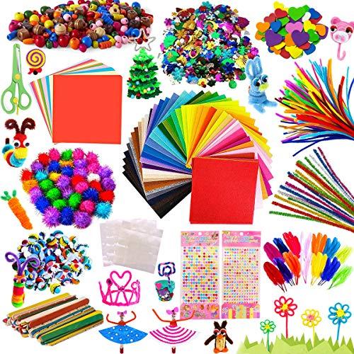 AYUQI Pompons Loisirs creatifs, Fil Chenille Pompon Bâtons d'artisanat de Bricolage Activites manuelles pour Enfant DIY Jouets éducatifs, Papier Crepon de Art creatif Enfant
