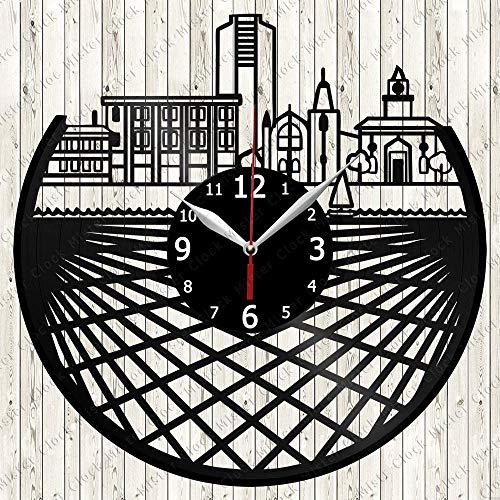 Wanggang Hamilton Skyline Discos de Vinilo Retro Reloj de Pared Año Nuevo Navidad Cumpleaños Cumpleaños Personalidad Creativa Decoración de Pared de diseño