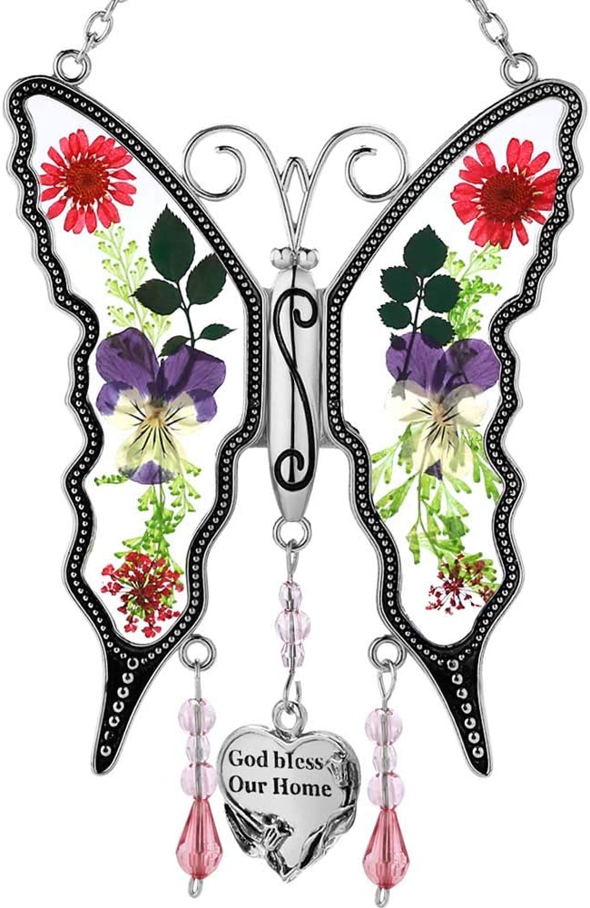 God Bless Our Home Butterfly SunCatcher Stained Glass Wind Chime Sun-Catchers Gifts for Grandma Mother Sister Friend New Home Gift for Birthdays Christmas Thanksgiving Gift