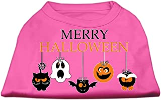 Mirage Pet Products Merry Halloween Screen Print Dog Shirt, Bright Pink, Small/Size 10