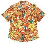 かりゆしウェア(沖縄アロハシャツ) レディース トロピカルハイビー オープンシャツ (MANGO マンゴ)(オレンジ,M)