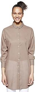 Benetton Damen Bluse Langarm Hemd legere Passform Shirt Oberteil Blusen