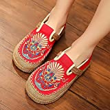 N&W Embroidered Shoes Embroidered Women Linen Loafers Espadrilles Ladies Handmade Work Shoes Female Comfortable Platform Sneakers Old Beijing Embroidered Shoes (Color : Beige Size : 6 UK)