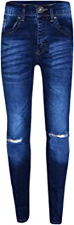 Girls Stretchy Jeans Kids Ripped Denim Pants Trousers Blue New Age 5-14 Years