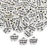 200 pz ciondoli handmade argento retrò doppia faccia charm pendenti a forma fiori fai da te per bracciale collana orecchini gioielli decorazione accessori