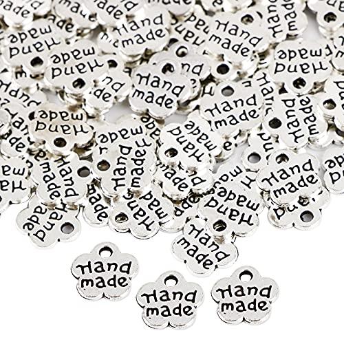 200pcs Dijes Colgante Forma Flor Plateado 8mm Mini Accesorios Handmade Doble Cara de Bisutería para Manualidades Collar Pulsera Pendiente Fabricación DIY Joyería Artesanía