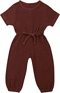 Baby Girl Clothes, Cute 0-3 Months Baby Girl Clothes, Solid Short-Sleeved Jumpsuit Baby Clothes Girl for Wear on The Body Gift Photograph Home Outdoor (Color : Brown, Kid Size : 18M)