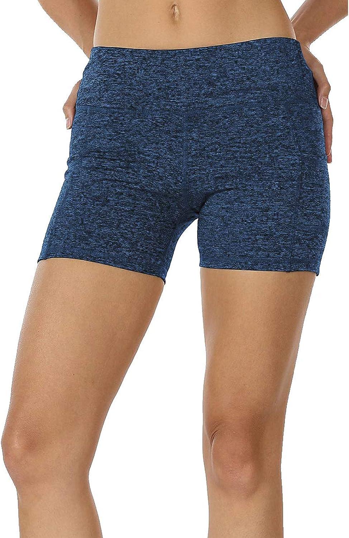 MYIFU Women High Waist Yoga Shorts Tummy Control Workout Running Shorts Pants Side Pocket