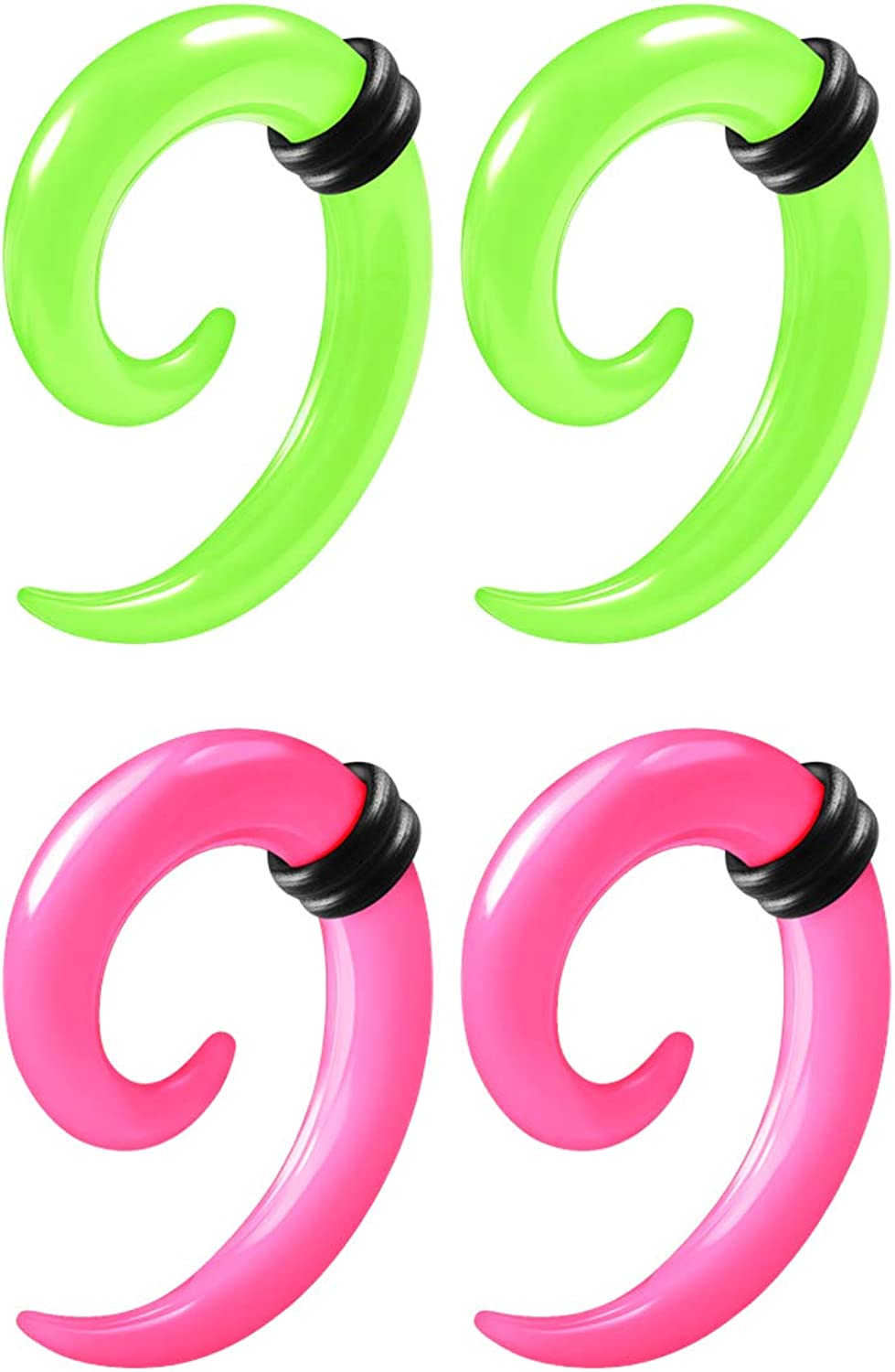 2 Pairs Green Pink Acrylic Spiral Taper Expander Piercing Jewelry Ear Stretching Earring Coil O-Rings Gauges Lobe Plugs