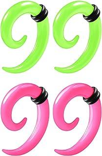 2 زوج الأخضر الوردي الاكريليك دوامة مستدقة التمديد الأذن القرط الملف O الحلقات المقاييس Lobe Plugs