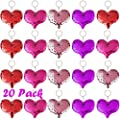 FEPITO 20 Pcs Magic Reversible Sequin Red Heart Keychains Glitter Love Heart Valentine Gift Keychains for Valentine's Day?Wedding Valentine Party Bag Fillers Favors for Kids