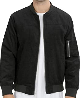 WULFUL Mens Casual Lightweight Bomber Jacket Front Zip-up Corduroy Jackets