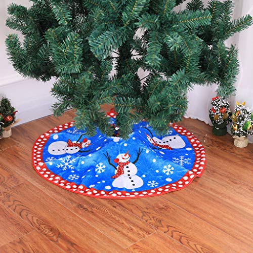 Luccase 80cm Christmas Tree Skirt Snowman Snowflake Round Base Floor Mat Gift Storage Aprons Carpet Xmas Decoration Gift for Home Store Supermarket Ornament