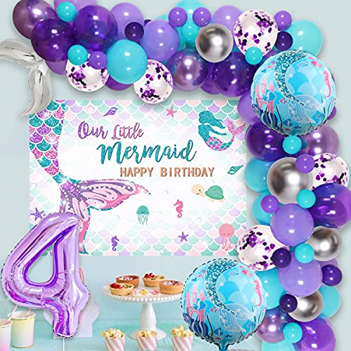 Kit de guirnalda de cola de sirena para niñas de 4º cumpleaños, color azul, morado y plateado con fondo de sirena, globo de papel de aluminio número 4 para fiesta de cumpleaños