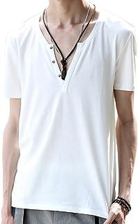 [ミックスリミテッド] Tシャツ メンズ Vネック 半袖 無地 深V 綿 ディープV タイト ヘンリーネック