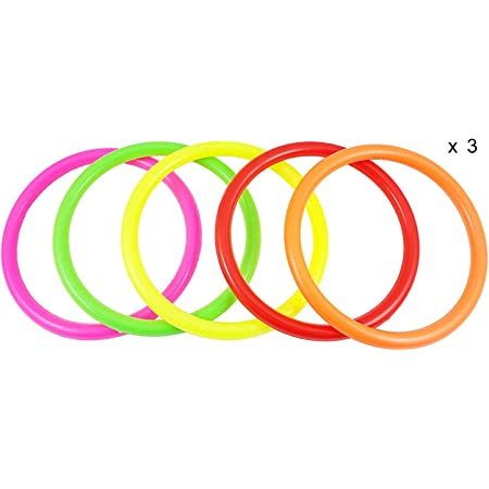 OBTANIM 12 Pcs Plastic Ring Toss Game for Kids and Outdoor Toss Rings for Speed and Agility Practice Games 7 Inch Random Colors