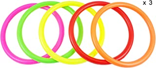 Fushing 15Pcs Multicolor Plastic Toss Rings for Kids Ring Toss Game, Speed and Agility Training Games,Carnival Garden Backyard Outdoor Games,Bridal Shower Game,Game Booth