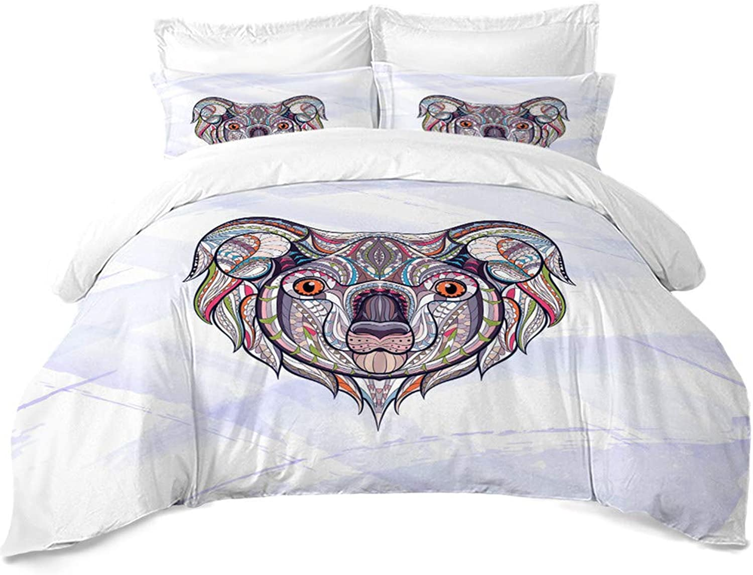 Brushed Microfiber Duvet Cover Set  colorful Animal Cute Koala Print Series Bedding Set 3 Piece (1 Quilt Cover + 2 Pillow Shams), Hypoallergenic, Wrinkle, Moisture and Dust Mites Resistant