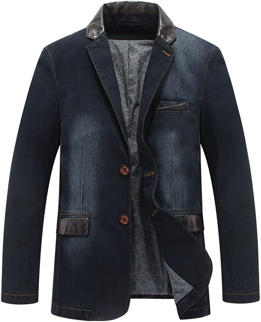 Real Spark Mens Classic Notched Collar 3 Button Washed Denim Blazer Jeans Suit Jacket