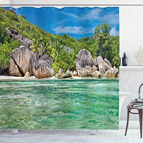 ABAKUHAUS Tropisch Duschvorhang, Landschaft von Island Tree, mit 12 Ringe Set Wasserdicht Stielvoll Modern Farbfest & Schimmel Resistent, 175x180 cm, Farngrün & Blau