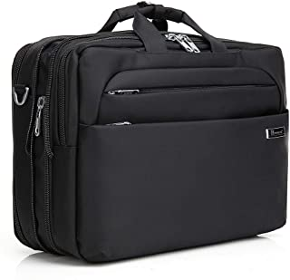 Kroeus 3-way Available Hidden Strap Expandable Large Shoulder Bag Fits 15.6 inch Laptop Computer PC Briefcase Waterproof business bag for men and women Black