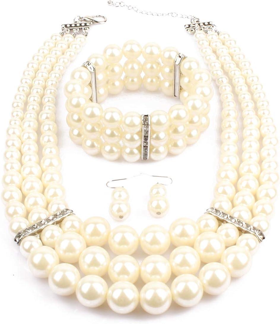 Lyhcside Women's Faux Pearl Strands Jewelry Sets Statement Necklace Earrings Bracelet