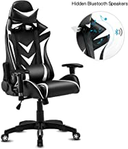 Modern-Depo High-Back Swivel Gaming Chair Recliner with Bluetooth 4.1 Speakers & Lumbar Support & Headrest | Height Adjustable Ergonomic Office Desk Chair - Black & White