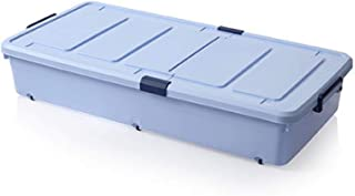 ZCED Boite De Rangement Plastique sous Lit avec roulettes Under Bed Box 93 * 46 * 16.5cm,Blue