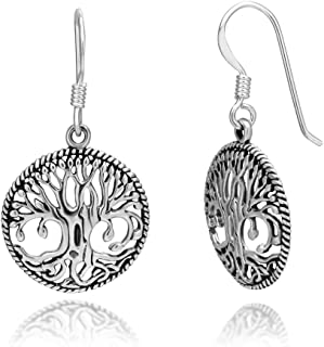 925 Sterling Silver Detailed Celtic Tree of Life Round Dangle Hook Earrings