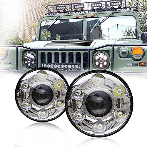 LED Phares Ronds 17.8cm Lampes Frontales Projecteur 30W Haut/Bas Faisceau H4/H13 pour véhicules (2 pièces,Chrome)