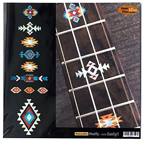 Inlaystickers Marcadores de diapasón para ukelele de concierto, diseño étnico, color turquesa