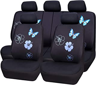 CAR PASS Flower and Butterfly Universal Car Seat Covers, Suvs,sedans,Vehicles,Airbag Compatible (11PCS, Black and Mint Blue)