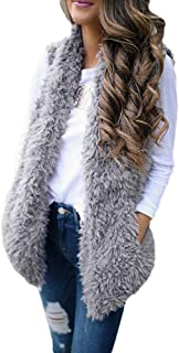 TOTOD Womens Fleece Open Front Coat, Outerwear Waistcoat Faux Fur Solid Cardigan Calsual Jacket Sleeveless Vest Coat