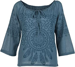 Women Printing Stand Three Quart Work Office Button Plus Size Blouse Top T-Shirt