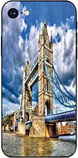 Phone Case Compatible with iphone7 iphone8 mobile phone covers phone shell Brandnew Tempered Glass Backplane,London,Historical Tower Bridge on River London UK British Day Time International Heritage D