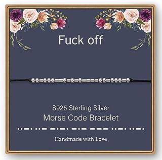 IEFWELL Morse Code Bracelets for Women Girls, S925 Sterling Silver Beads on Silk Message Friendship Gifts Friendship Brace...