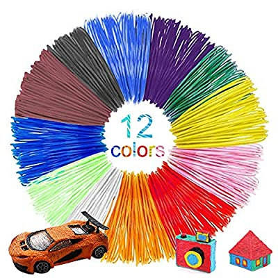 3D Pen Filament Refills PLA, 12colors Pen Filament 3D Pen Printing Material Refills 1.75mm 16.4feet