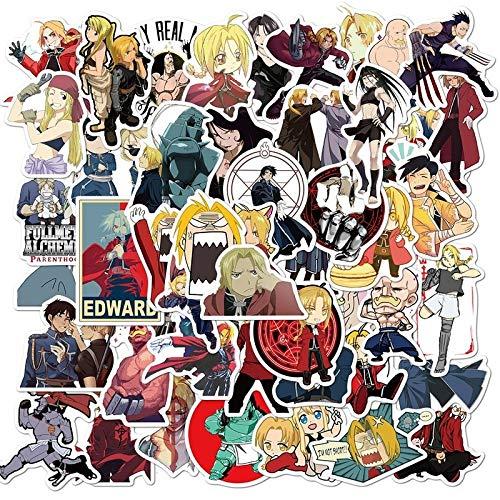 SHIHE Pegatina de alquimista de Metal para Regalo de Juguete, Pegatina de Anime de Dibujos Animados para niños, portátil, teléfono móvil, monopatín, 50 Uds.