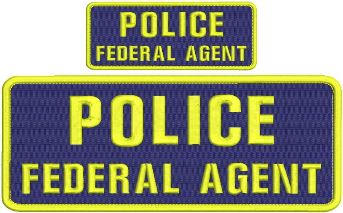 Police Super special price Federal Agent Embroidery Patch New arrival 4x10 Yel 2x5 and Hook Navy