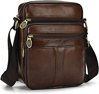 Casual Man Chest Pack Cowhide Genuine Leather Male Crossbody Messenger Bags Fashion Multi-layer Zipper Waterproof Shoulder Bag,brown